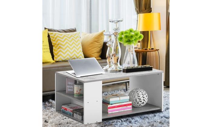 2-Tier Wood Coffee Table Sofa Side Table w// Storage Shelf Living Room Office New