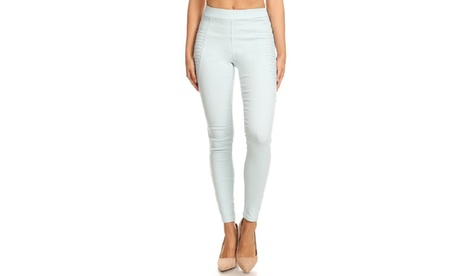 Womens' Pleated Skinny Stretch Pull-On Jeggings 93455232-3bec-4a02-9adc-b6d8e08be41d