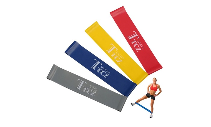 4 pcs Resistance Loop Band Yoga Bands Rubber Fitness Training Strength