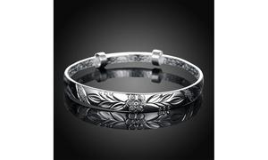Silver Floral Ingrain Design Women's Bangle