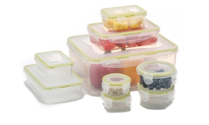 9 Pcs Food Container Set With Smart Lock Lids For Microwave Lunchbox ...