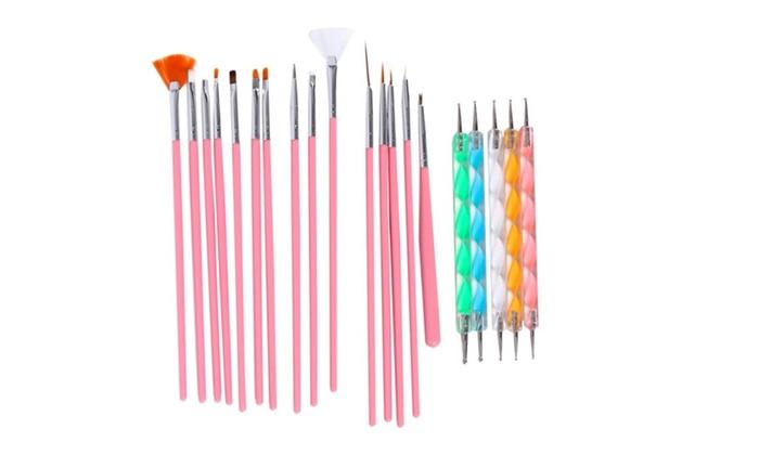 Nail Art Design Set Painting Drawing Polish Brush Pen Tools Pink