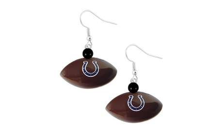 NFL Indianapolis Colts Mini Football Dangle Earring f36a59ae-43a5-4d93-a9d6-c3bd6bed995a