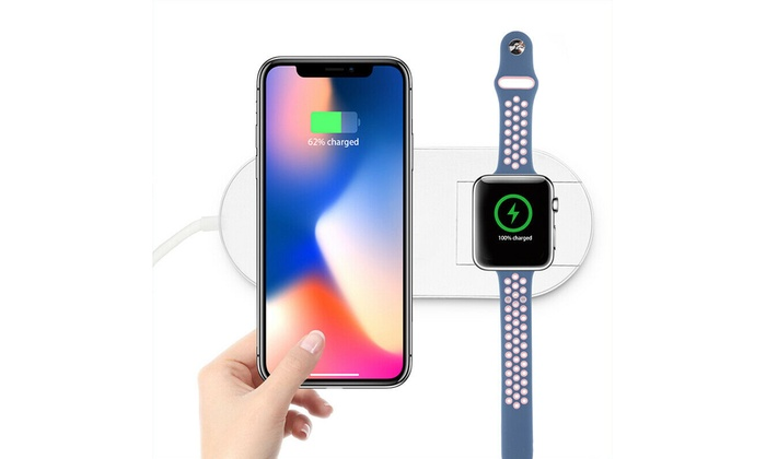 2 In 1 Fast Qi Wireless Charger Charging Dock Pad For Apple Watch iPhone X XS 8