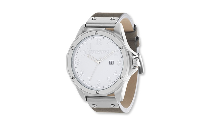 e5d66b49273 ... Steve Madden Men s Alloy Case White Round Dial Grey Leather Band Watch