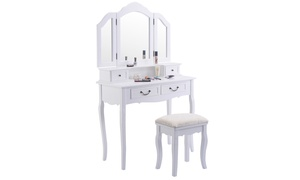 Costway Tri Folding Mirror Wood Vanity Set Makeup Table Dresser 4 Drawers