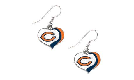 Chicago Bears NFL Glitter Heart Earring Swirl Charm Set 5134fddd-d9df-4fc1-8c06-8edb13dd8508