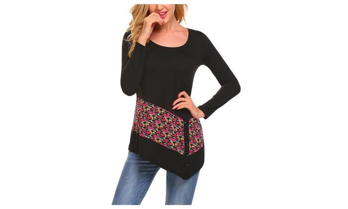 d8a70950c6e Women s Floral Slim Long Sleeve Neck T-Shirt ...