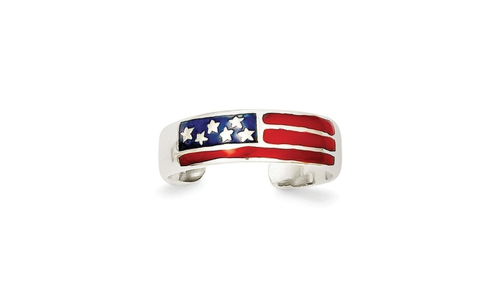 Sterling Silver Enameled Flag Toe Ring Solid 5 mm Toe Rings Jewelry
