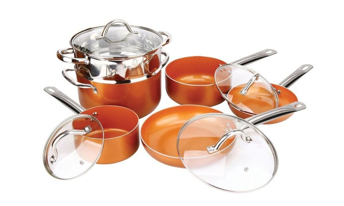 up to 46 off on copper luxury 10 pc cookware set groupon goods