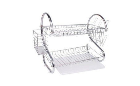2-Tier Multi-function Stainless Steel Dish Drying Rack and Cup Drainer b799ba1a-fc1d-4914-b6f7-71407e019d0d