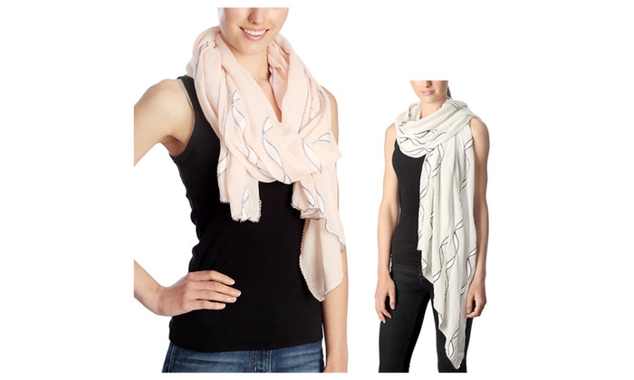 Women's Wave Pattern Design Flowy Lightweight Spring Scarf