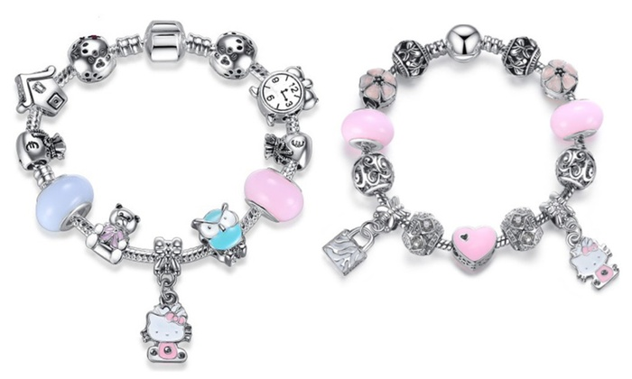 0ccd8312a Pandora Inspired 925 Silver Lovely Hello Kitty Charm Bracelet-2 Styles