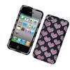 Insten Hearts Hard Case For Apple iPhone 4 4S - Black/Pink