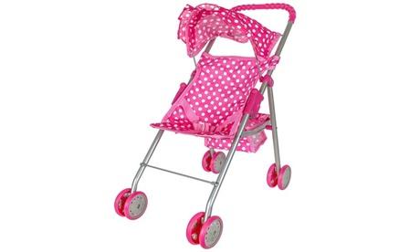 Precious Toys Pink & White Polka Dots Foldable Doll Stroller With Hood 91b34aa4-7f31-4154-8467-37dc87b4f109