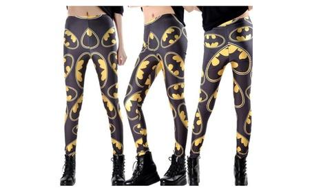 "Fashion Women Clothing ""Batman"" Print Black Yellow Yoga Leggings 2df0377e-6169-43d6-9024-efec23950f3d"