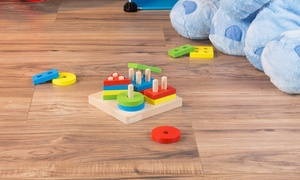 Hey! Play! Wooden Shape Sorter Toy with 16 Blocks