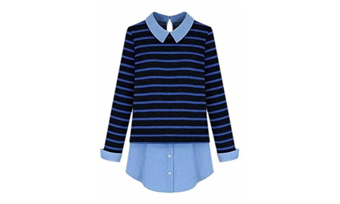 ARRIVE GUIDE Womens Stylish Stripe Lapel Fake Two Pieces Pullover Sweater