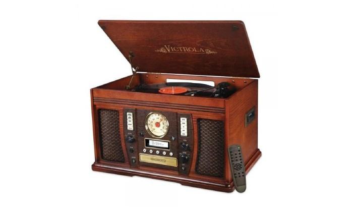 Victrola Nostalgic Aviator Wood 8 In 1 Bluetooth Turntable Entertainme