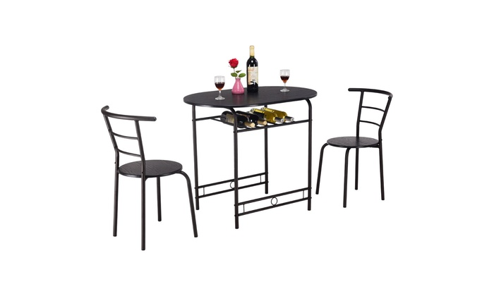 3 Pcs Dining Set Table And 2 Chairs Home Kitchen Breakfast Bistro Pub Groupon
