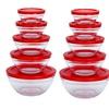 20 Piece Glass Storage Bowl Set with Red Lids