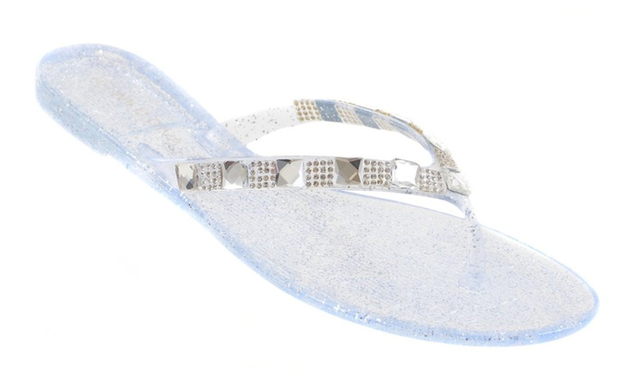 2d343e38f Clear Rhinestone Embellished Flat Flip Flop Thong Jelly Sandals ...
