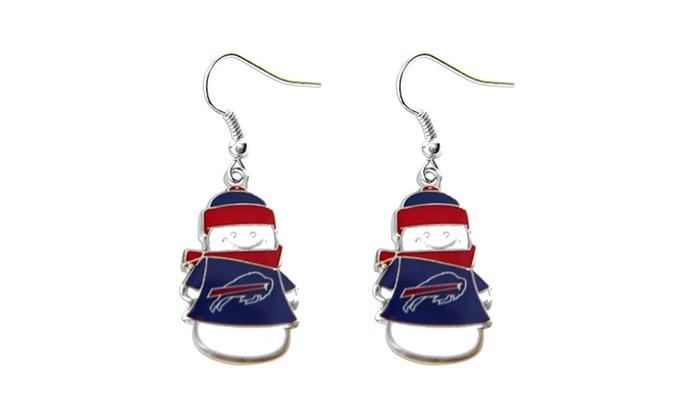 Buffalo Bills NFL SNowman Holiday Dangle Logo Earring Set Charm Gift