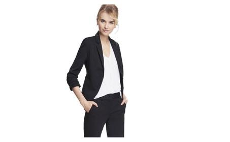 Express Women's 22-in Long Business Suit Jacket Blazer: Black, Size 2