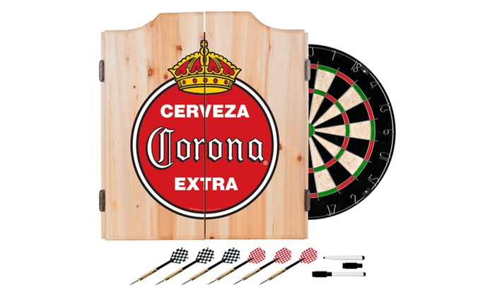 Beer Brand Wood Dart Cabinet Set With Darts And Board