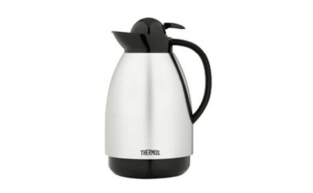 Thermos 710S Brushed Stainless Carafe, Silver & Black, 34 Oz f774bb4a-62d5-408f-bb4a-4b89244975bc