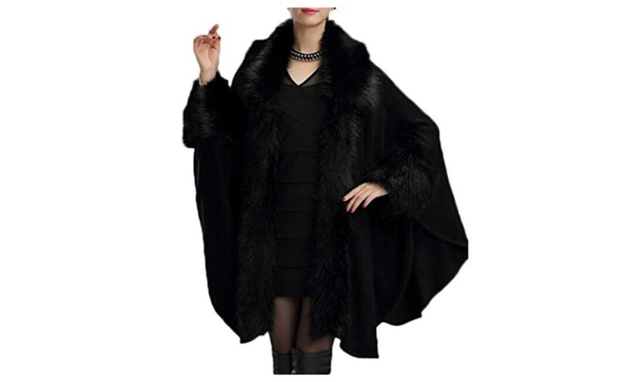 Women's Fashion Faux Fur Trim Cardigan Cape Wool Blend Cloak Coat