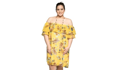 Xehar Women's Plus Size Off Shoulder Floral Midi Short Summer Dress b8b746f9-e58d-4f28-9fe8-768d0d5390bf