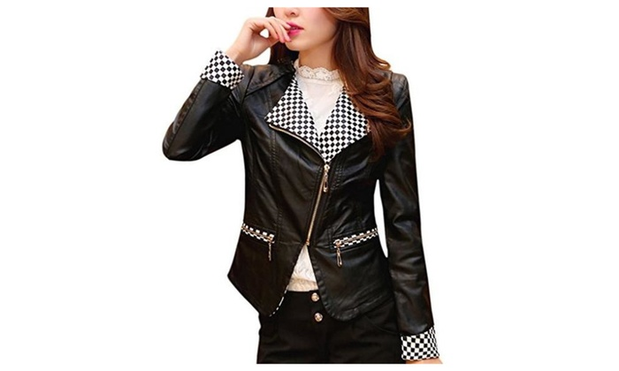 Bigood Women Outdoors Black White Lattice Leather Zip Up Biker Jacket