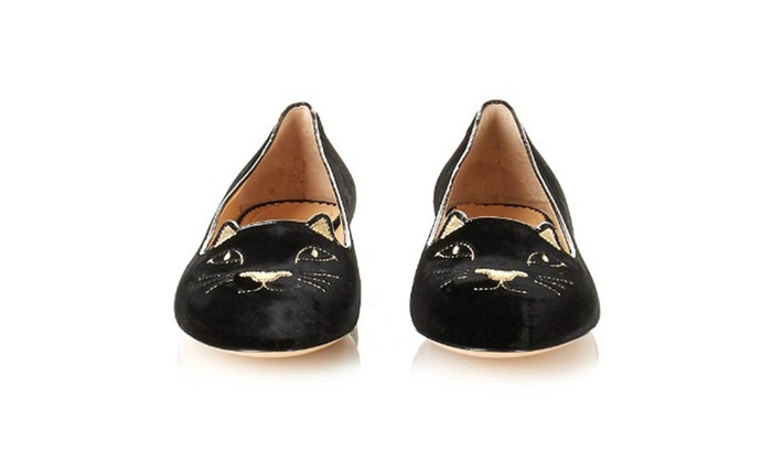 Women's Velvet Embroidered Kitty Loafer Shoes