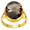 Orchid Jewelry Sterling Silver Oval Brolitte Cut Smoky Quartz Ring