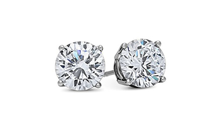 groupon.com - 14k White Gold Solid Cubic Zirconia Stud Earrings