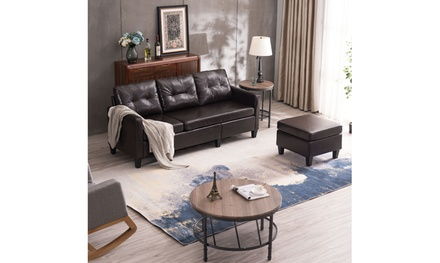 Modern PU Leather Sectional Sofa Couch L-Shaped Combination Sofa Black/Brown