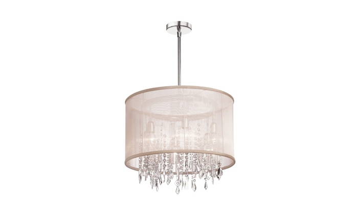 6 Light Crystal Chandelier, Polished Chrome, Organza Drum Shade