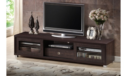 Beasley 70-Inch Dark Brown TV Cabinet with 2 Sliding Doors and Drawer