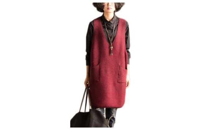 Women's Slips on Over Head Ribbed Hem Simple Waistcoat