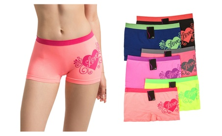 Ladies Seamless Love Heart Printed Boyshort Panties 6 Piece Color Set 36ac982f-14b9-43a3-9f38-3e199eaac027