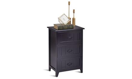 Costway 3 Drawers End Table Bedroom Storage Nightstand Black(1 or 2)