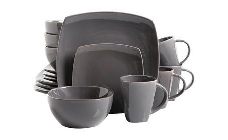Gibson Soho Lounge 16-Piece Square Reactive Glaze Dinnerware Set, Grey photo