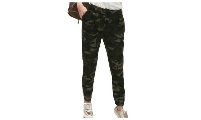 Women's ZipUpwithButtonClosure Long Casual Straight Pants