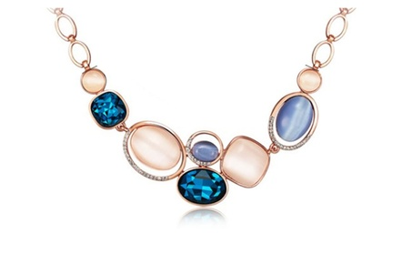 Rose Gold Color Blue Crystal Opal Stones Chain Women's Necklace 2bd00ef1-1c91-4798-b5b6-90414aedf96e