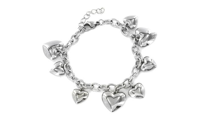 Groupon Goods: Stainless Steel Heart Charm Bracelet