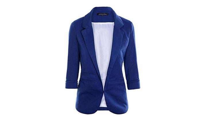 Lerela Cuffed Sleeve No Button Oversized Boyfriend Blazer for Office Lady