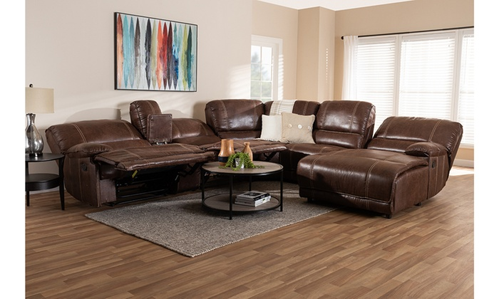 Salomo Brown Upholstered 6 Piece Sectional Recliner Sofa With 3