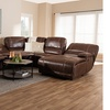 Salomo Brown Upholstered 6-Piece Sectional Recliner Sofa with 3 Reclining Seats