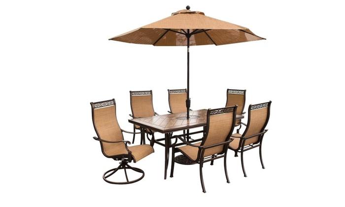 Etonnant Hanover Monaco 7 Piece Dining Set With 9 Ft. Table Umbrella